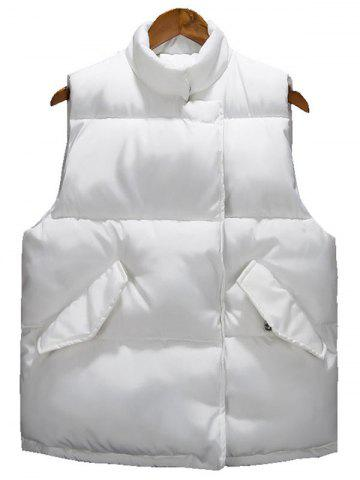 New Asymmetrical Snap Button Up Quilted Vest - 3XL WHITE Mobile
