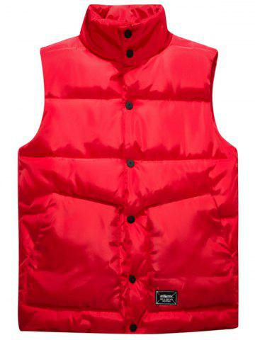 Latest Snap Button Up Graphic Print Quilted Vest RED 4XL