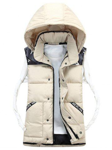 Cheap Detachable Hood Camo Pattern Quilted Vest OFF-WHITE 3XL