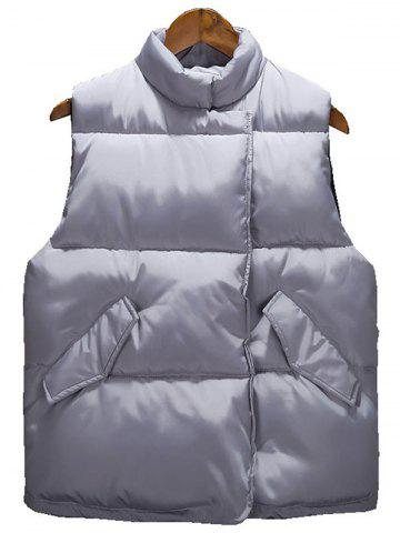 Best Asymmetrical Snap Button Up Quilted Vest GRAY XL