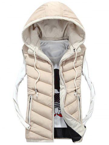 Latest Detachable Hood Zip Up Quilted Vest - 3XL OFF-WHITE Mobile
