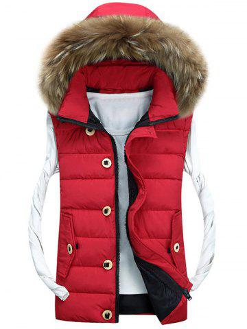 Fashion Zip Up Detachable Hood Padded Vest RED 2XL