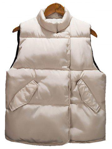 Outfit Asymmetrical Snap Button Up Quilted Vest - L BEIGE Mobile