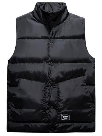 Trendy Snap Button Up Graphic Print Quilted Vest - L BLACK Mobile
