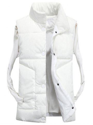 Online Snap Button Funnel Collar Quilted Vest - XL WHITE Mobile