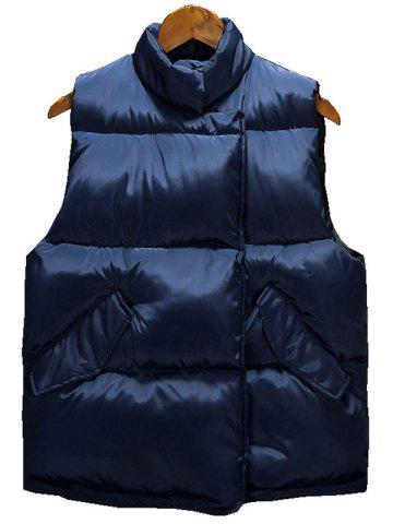 Gilet asymétrique Snap Button Up Quilted Vest Bleu Cadette 3XL