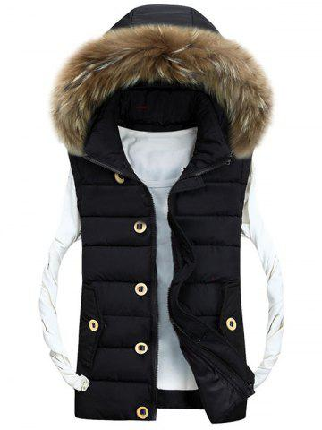 Online Zip Up Detachable Hood Padded Vest - 3XL BLACK Mobile