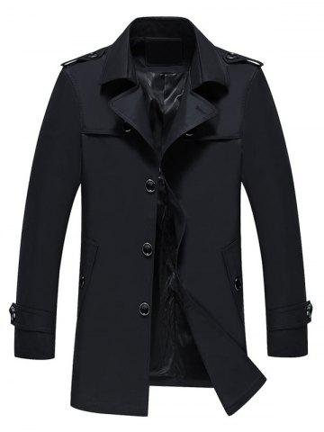 Outfits Longline Epaulet Single Breasted Coat - 3XL BLACK Mobile