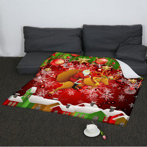 Sale Santa Claus and Baubles Pattern Coral Fleece Sofa Blanket COLORFUL W59 INCH * L79 INCH