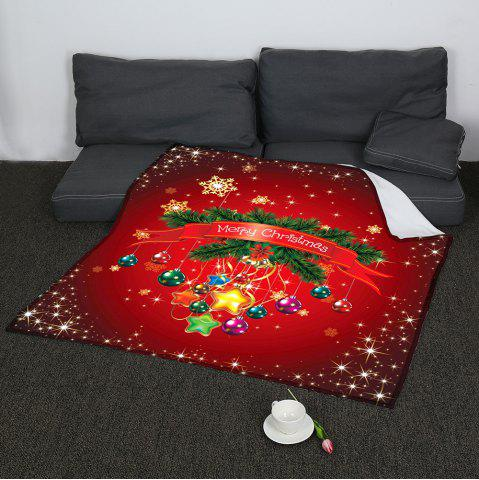 Discount Christmas Baubles Pattern Coral Fleece Sofa Blanket RED W47INCH*L59INCH