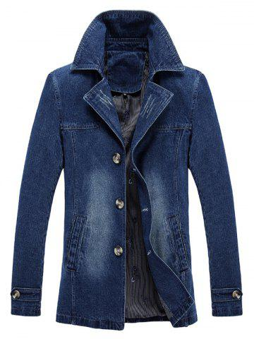 Chic Bleached Effect Ripped Denim Coat - XL BLUE Mobile