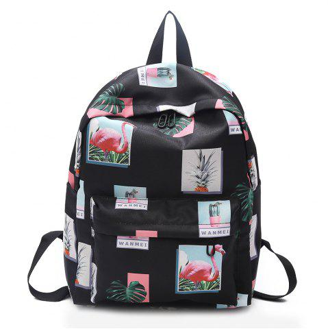 Buy Print Patchwork School Backpack BLACK