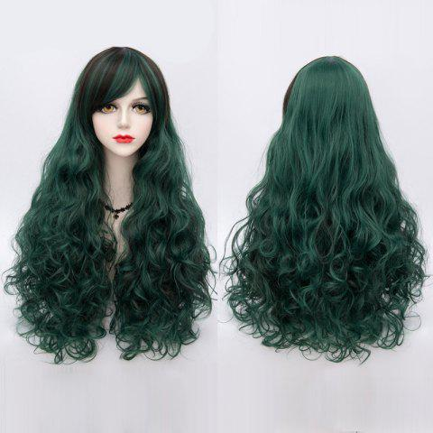 New Long Side Bang Highlighted Fluffy Curly Synthetic Wig BLACKISH GREEN
