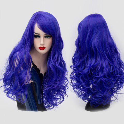 Sale Long Side Bang Fluffy Curly Synthetic Party Wig ROYAL