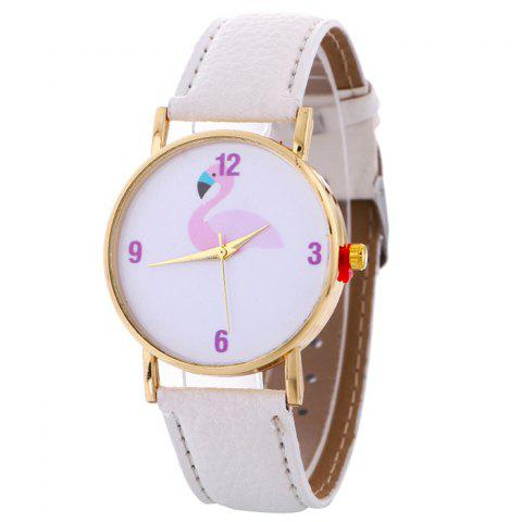 Buy Flamingo Face Faux Leather Strap Watch WHITE