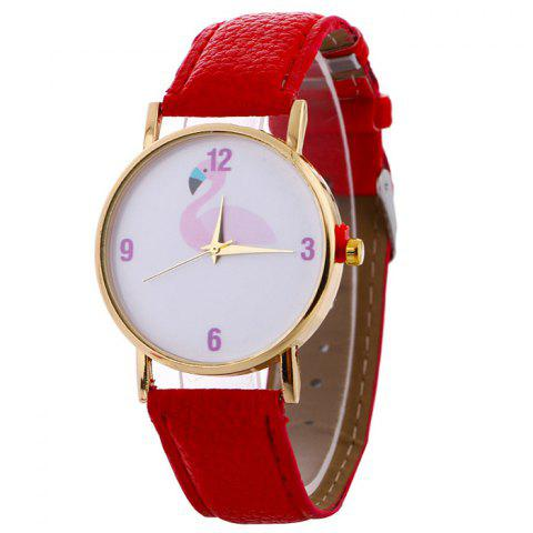 Flamingo Face Faux Leather Strap Watch Rouge