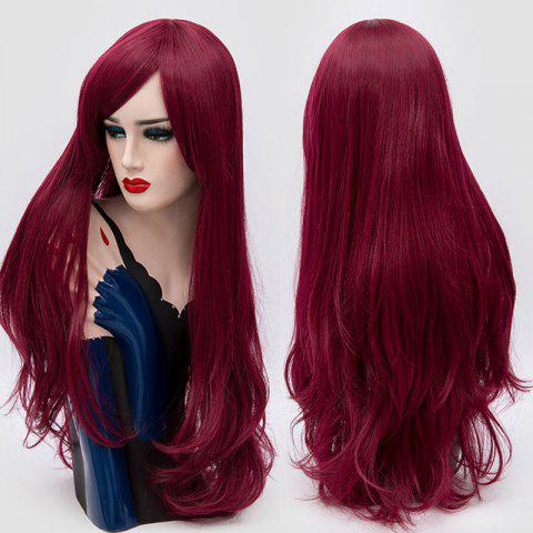 Fancy Long Side Fringe Layered Slightly Curly Synthetic Party Wig PURPLISH RED