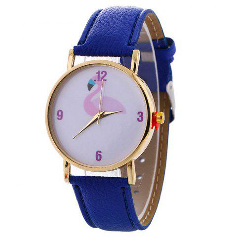 Flamingo Face Faux Leather Strap Watch