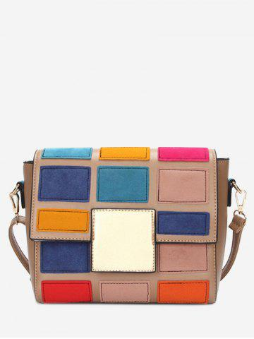 Unique Color Blocking Plaid Crossbody Bag