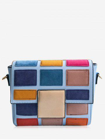 Fancy Color Blocking Plaid Crossbody Bag BLUE