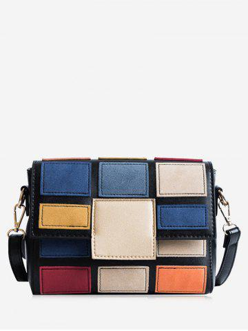 Affordable Color Blocking Plaid Crossbody Bag
