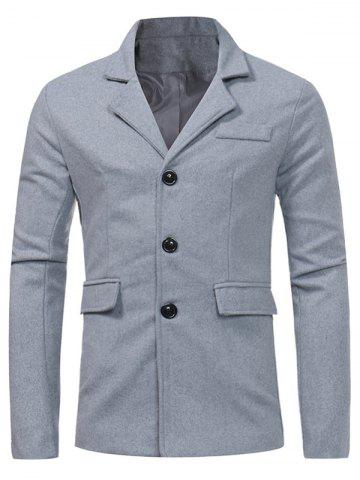 Store Single Breasted Pocket Woolen Coat - XL LIGHT GRAY Mobile