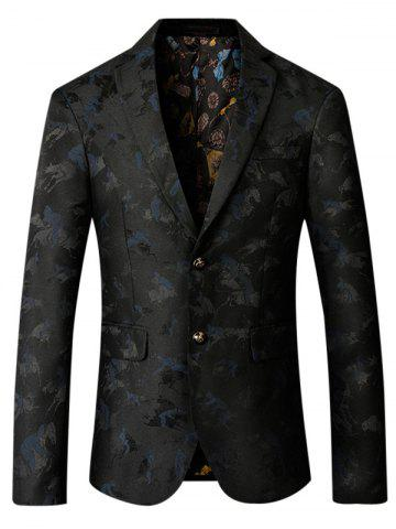 Chic Single Breasted Riding Jacquard Blazer - 3XL PURPLISH BLUE Mobile