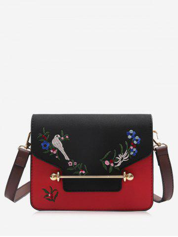 New Flower Birds Embroidery Crossbody Bag BLACK