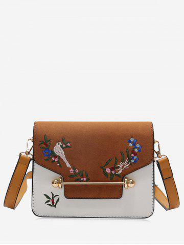 Flower Birds Embroidery Crossbody Bag Brun