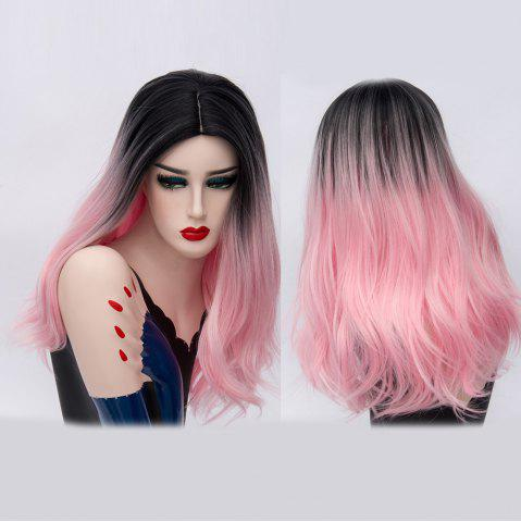 Online Long Middle Part Natural Straight Ombre Synthetic Party Wig PINK