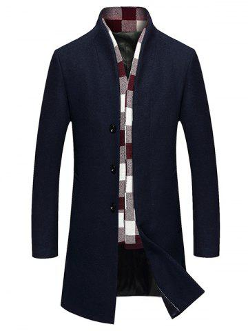 Chic Single Breasted Longline Woolen Coat CADETBLUE 2XL