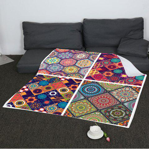 Affordable Coral Fleece Bohemian Geometries Pattern Blanket - W47INCH*L59INCH COLORFUL Mobile
