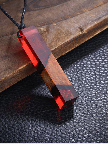 Shop Wood Resin Geometric Pendant Collarbone Necklace RED