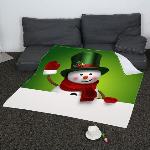 Cheap Coral Fleece Christmas Smiling Snowman Printed Blanket - W31 INCH*L59 INCH GREEN+WHITE Mobile