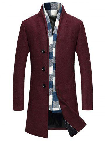 Fashion Single Breasted Longline Woolen Coat - WINE RED 2XL Mobile