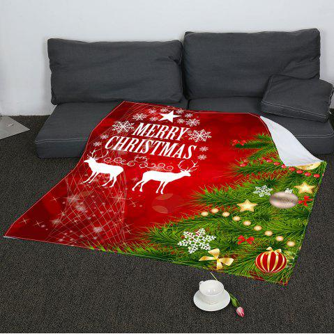 Best Christmas Tree Balls Patterned Coral Fleece Blanket RED AND GREEN W31 INCH*L59 INCH