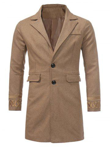 Fashion Single Breasted Embroidered Longline Woolen Coat - 3XL KHAKI Mobile