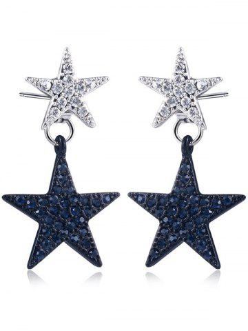 Unique Rhinestone Doubled Star Front Back Earrings BLACK + SILVER