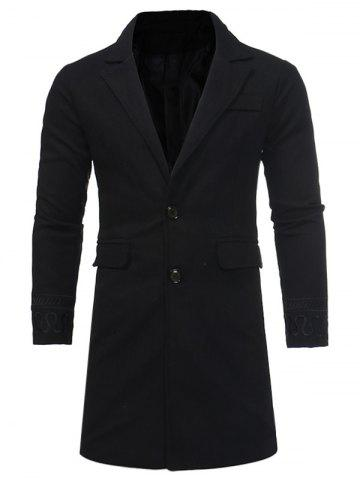 Chic Single Breasted Embroidered Longline Woolen Coat BLACK 2XL