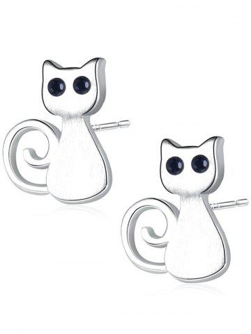 Outfits Sterling Silver Cute Kitten Stud Earrings SILVER