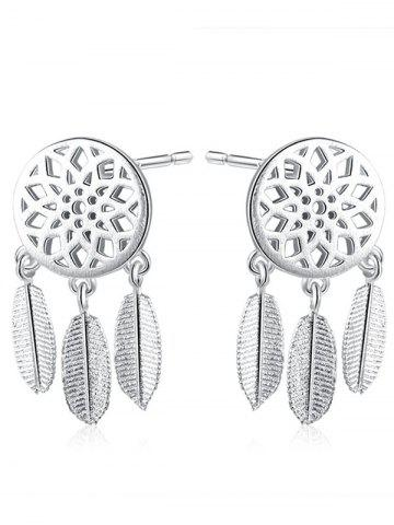 Store Dream Catcher Feather Sterling Silver Earrings - SILVER  Mobile