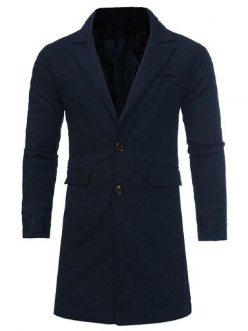 Discount Single Breasted Embroidered Longline Woolen Coat - 2XL CADETBLUE Mobile