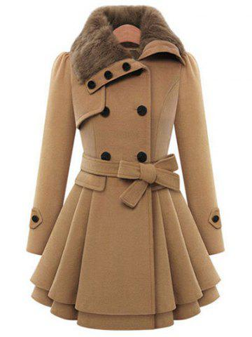 Latest Skirted A Line Coat with Belt - XL CAMEL Mobile
