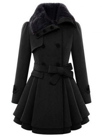 Fashion Skirted A Line Coat with Belt BLACK XL