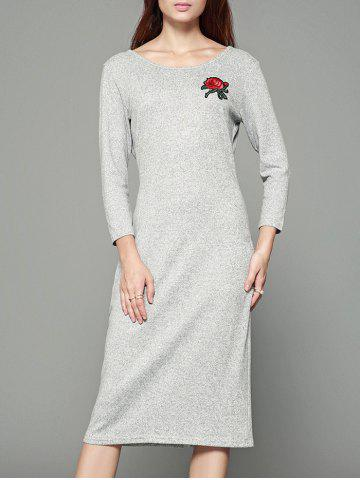 Tiny Rose Print Back Cut Out Gaine Robe Gris Clair M