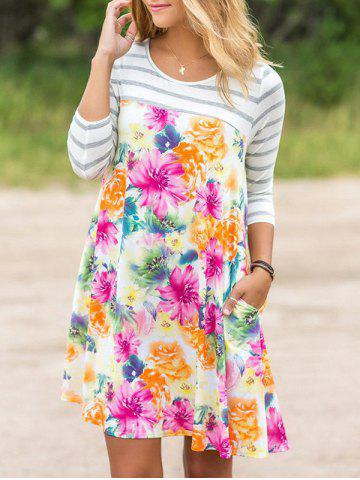 Stripe Sleeve Floral Dress with Pocket Multicolore M