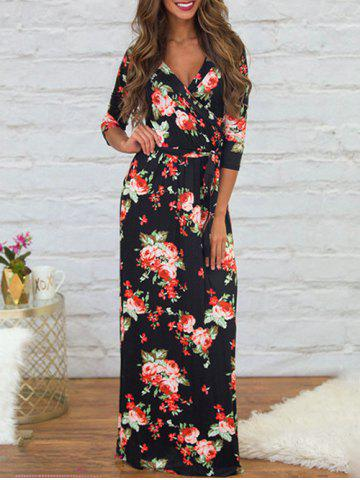 Affordable Plunging Neck Printed Dress with Belt BLACK L