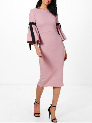 Rope Insert Flare Sleeve Pencil Dress ROSE PÂLE S