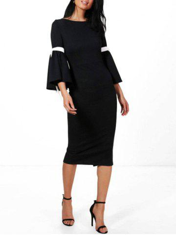Rope Insert Flare Sleeve Pencil Dress Noir S