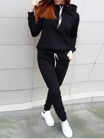 Outfits Hooded Front Pocket Sweat Suit - M BLACK Mobile